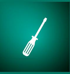 screwdriver icon isolated on green background vector image