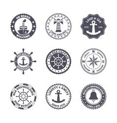 Sea port label set vector image