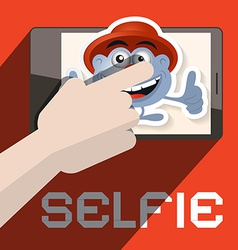Selfie with Hand and Avatar vector image
