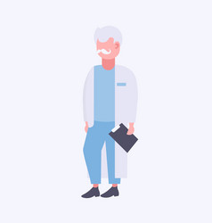 senior doctor holding clipboard male medical vector image
