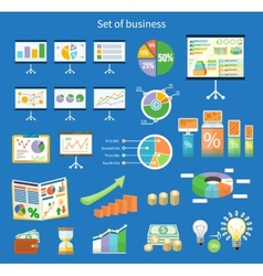Set of flip chart with drawing business charts vector