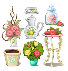set of interior objects and tableware with vector image