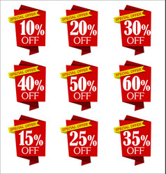 Set of offers and sale discount red banners vector