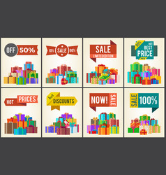 Set of promo posters advertisement stickers info vector