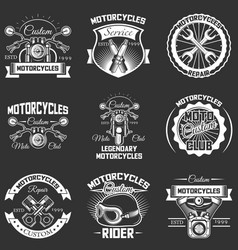 Set of vintage motorcycle service labels vector