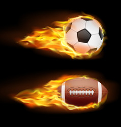 set sports burning balls balls vector image