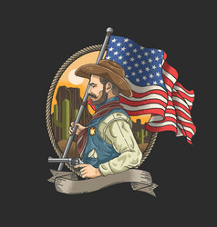 Sheriff with an american flag vector
