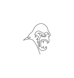 single continuous line drawing gorilla head vector image