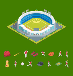 soccer or baseball park or stadium and elements vector image