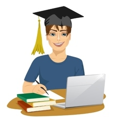 student using online education service vector image