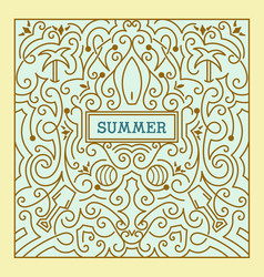 summer label with swirls ornaments vector image