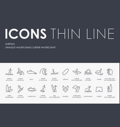Surfing thin line icons vector
