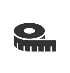 tape measurement black icon on white background vector image