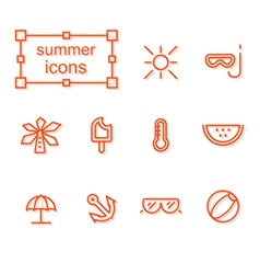 Thin line icons set summer vector