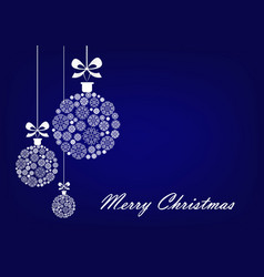 three white christmas balls on blue vector image