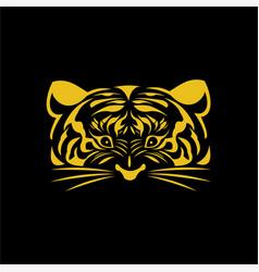 tiger gold face logo vector image