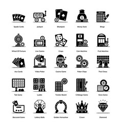 Trendy casino games solid icons pack vector