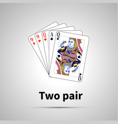 two pair poker combination with on gray vector image
