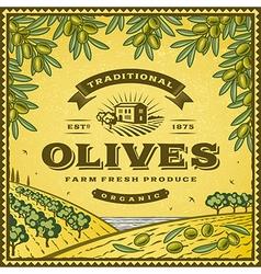 Vintage olives label vector image