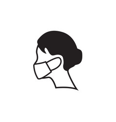 woman wearing face mask icon design template vector image
