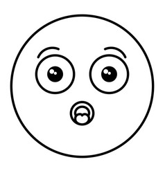 Worried face emoticon kawaii character vector