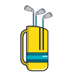 Yellow golf bag full of golf clubs icon vector