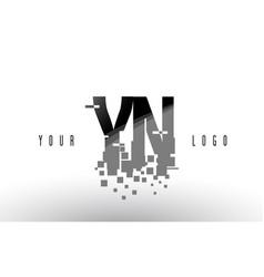 Yn y n pixel letter logo with digital shattered vector