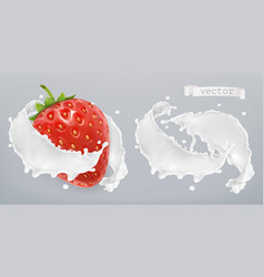 yogurt milk splash with strawberry set 3d vector image