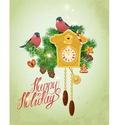 Card with vintage wooden Cuckoo Clock xmas gingerb vector image
