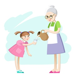 Grandma pours a glass of milk for the girls vector image