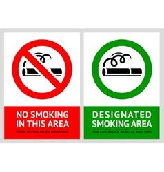 No smoking and Smoking area labels - Set 11 vector image vector image