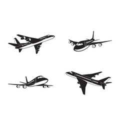 Passenger airplanes in perspective vector image