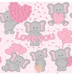 seamless pattern cute valentine elephant vector image vector image
