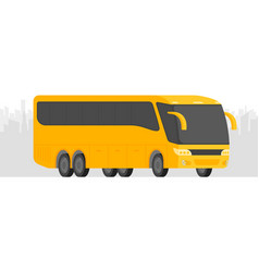 corner view bus on the road with city background vector image vector image