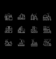 factory buildings flat white line icons set vector image