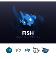 Fish icon in different style vector image vector image