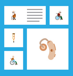 Flat icon disabled set of wheelchair ancestor vector