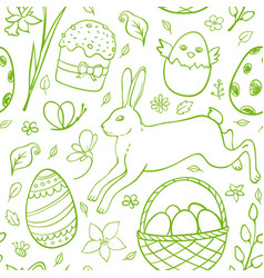 hand drawn easter pattern vector image vector image