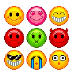Pixel smileys for games icons set vector image