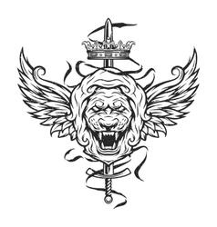 Vintage symbol of a lion head vector image vector image