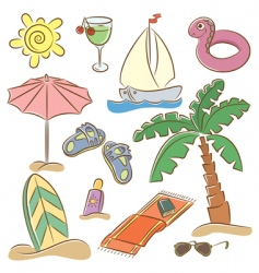 beach vacation icon set vector image