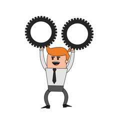 color image cartoon business man holding a gears vector image