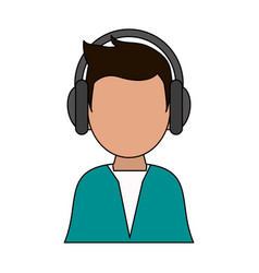 color image cartoon man faceless with headphones vector image vector image