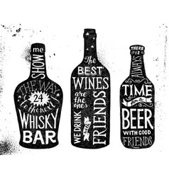 alcoholic beverages hand drawn lettering set vector image vector image