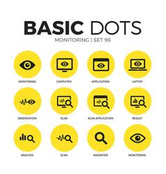 monitoring flat icons set vector image