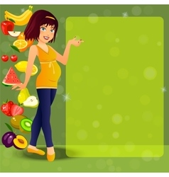 smiling cute pregnant woman vector image vector image