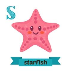 Starfish S letter Cute children animal alphabet in vector image
