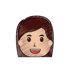 woman face smile character cartoon vector image