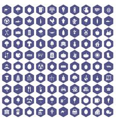100 health food icons hexagon purple vector
