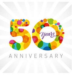 50 years bubbles ribbon colorful logo vector image